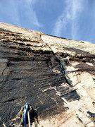 Rock Climbing Photo: P2 per Handren slanting 5.9 crack on white sandsto...
