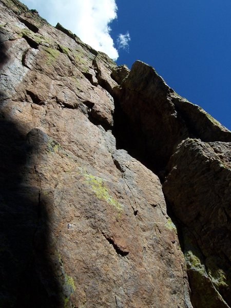 Rock Climbing Photo: The route follows the face to the left of the dihe...