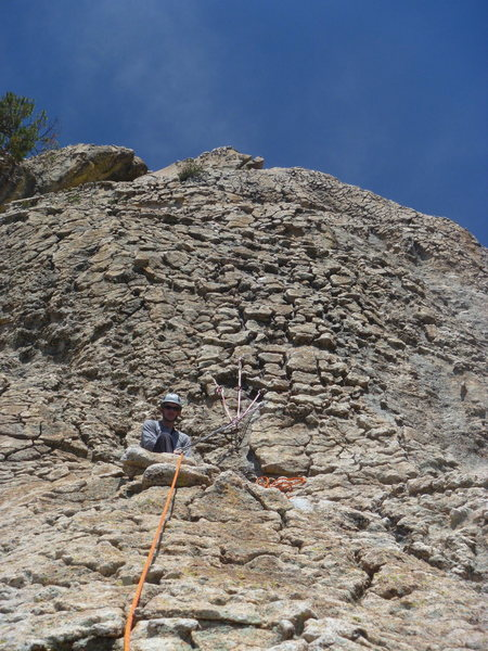 Looking up at the 3rd belay.