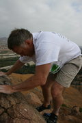 Rock Climbing Photo: Kevin on a problem on a boulder just east of Joe B...