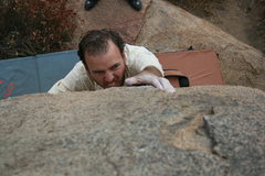 Rock Climbing Photo: Nathan on the hardest problem on this boulder.
