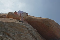 Rock Climbing Photo: Kevin just exiting a nice grainy crack and face ne...