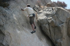 Rock Climbing Photo: Nathan on another grainy face to the right of the ...