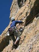 Rock Climbing Photo: The bolt was drilled on lead from a hook.
