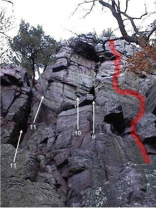 The climb follows the red line