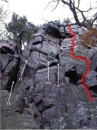 Rock Climbing Photo: The climb follows the red line