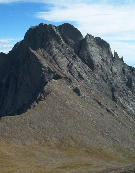 Approximate line of the North Buttress, Crestone Peak, CO.