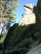 Rock Climbing Photo: Sarah Cookson leading Whiptail.  This is her first...