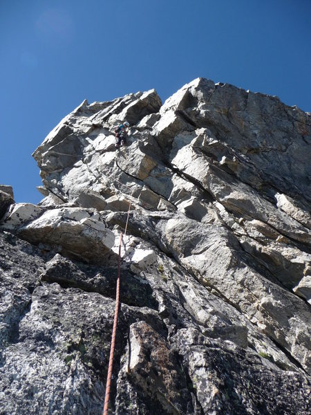 Rock Climbing Photo: Dihedral finish to the arete variation. I may have...