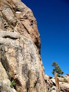 Rock Climbing Photo: Rob S. high on Black Magic Poodle (5.9), Holcomb V...
