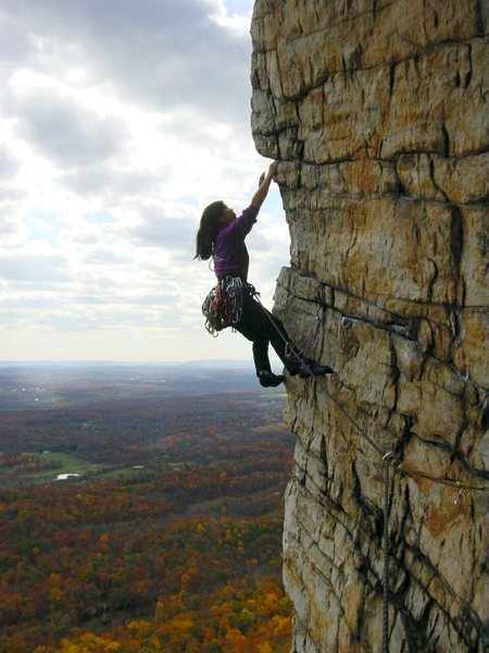 Me leading P2 of Bonnie's Roof (5.8), Trapps, Gunks, NY
