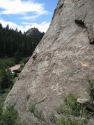 Rock Climbing Photo: Me leading a slab sport climb in Eleven Mile Canyo...