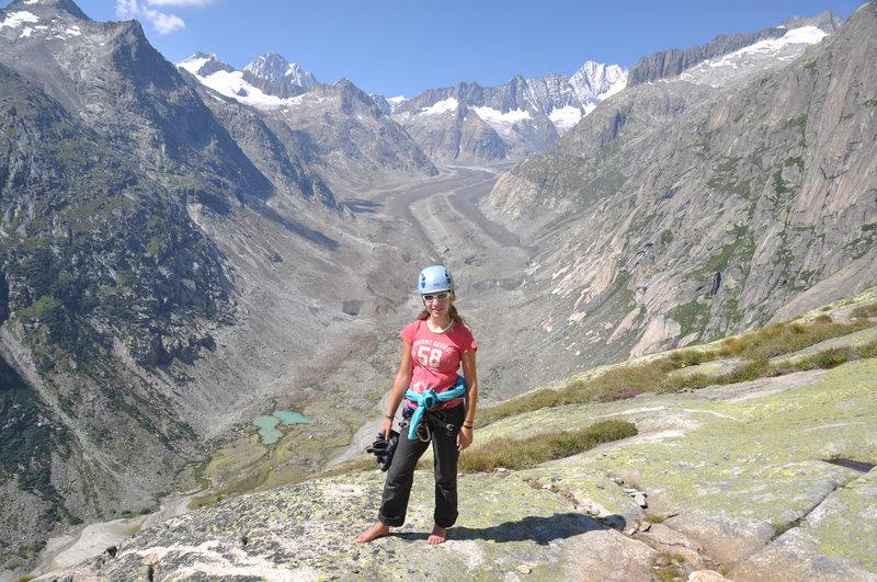 On top of Eldorado. Great view of Lauteraarhorn and Finsteraarhorn and its glaciers