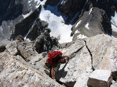 Rock Climbing Photo: Keen Butterworth solos the super exposed V Pitch.