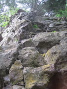 Rock Climbing Photo: Ascend blocks to the dihedral in the center of the...