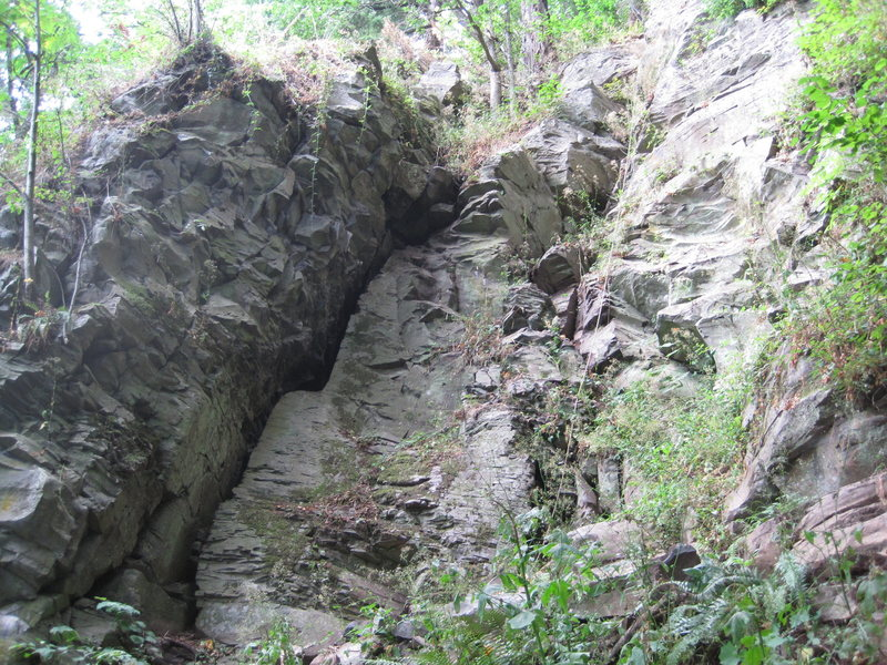 Rock Climbing Photo: The route is to the right of the rope hanging in t...