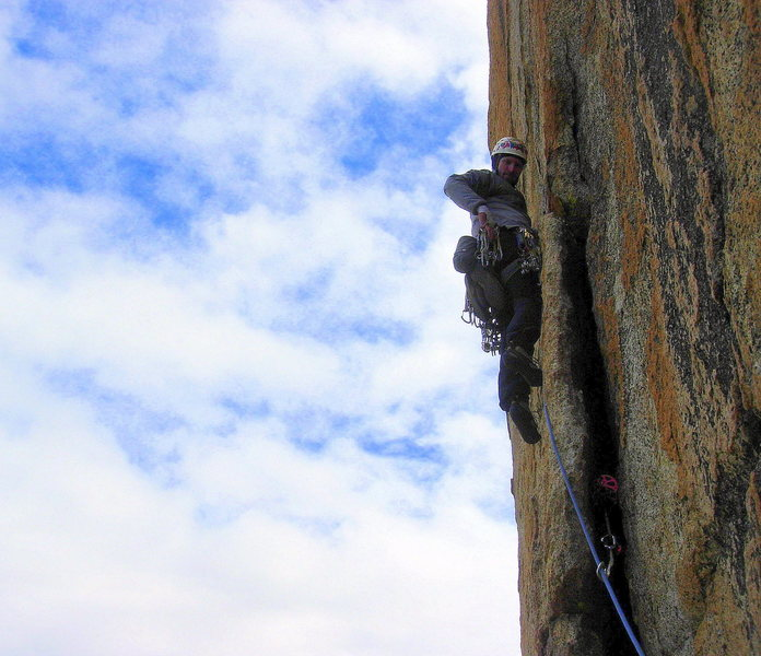 Rock Climbing Photo: Pitch 3, the bolt-protected move.  Photo by Sarah ...