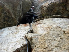 Rock Climbing Photo: The V-slot roof on Pitch 1.  Photo by Sarah Kate S...
