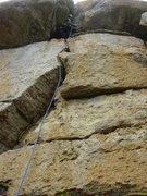 Rock Climbing Photo: Looking up Pitch 1 from the belay stance at the ba...