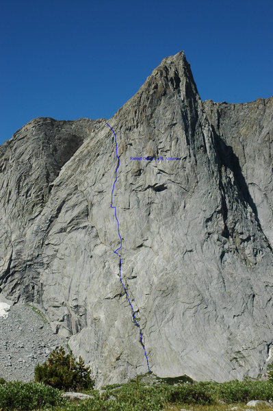 Rock Climbing Photo: Overview of Ambush South Face with the route &quot...
