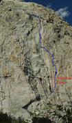 Rock Climbing Photo: Diagram of the South Face Center route on Midsumme...