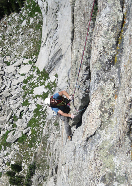 Just after the crux of pitch 2