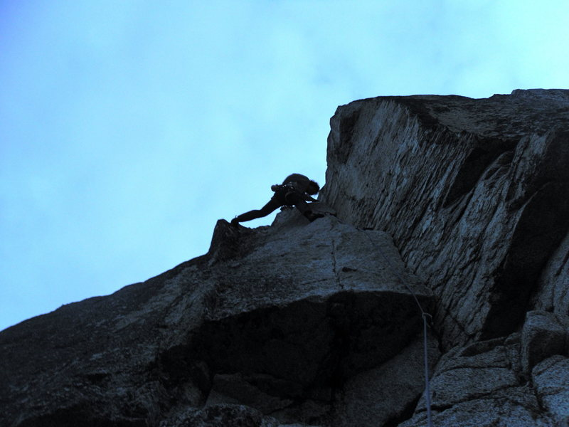 5.9 fingers of the 4th pitch (offwidth variation to the right) at about midnight. Cool climbing at midnight without the headlamp