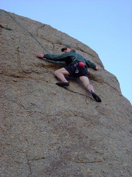 Greg climbing Tumbling Dice, Jan 2005.
