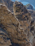 Rock Climbing Photo: A climber on the Petzoldt Ridge, with the Teepee P...