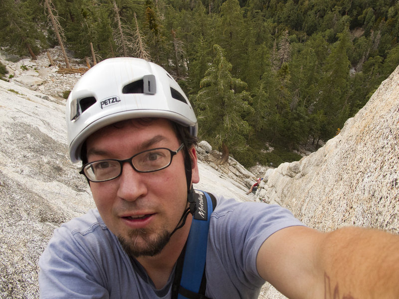 A self-portrait leading The West Route on the Northeast face (5.6) at Tahquitz, near Idylwild Ca in August 2010.