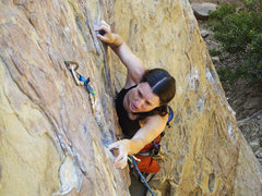 Rock Climbing Photo: Joanne leading a route at Fire Crags in Santa Barb...