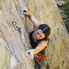 Joanne leading a route at Fire Crags in Santa Barbara (5.9)