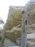 Rock Climbing Photo: Dave on the rap from edge of a dream 5.7