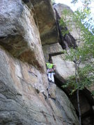 Rock Climbing Photo: 1st pitch, right before you traverse over the larg...