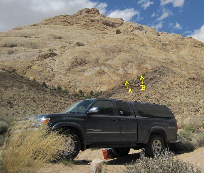 Location of the climbs from camp at Three Fingers Canyon . A)Tea for Two 5.8R. B)Off The Couch.5.9R