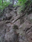 Rock Climbing Photo: Follow a leftward trending ramp to the tree - easy...