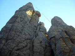 Rock Climbing Photo: The notch you belay in is way at the top right jus...