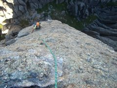 Rock Climbing Photo: C-dog starting the runout section