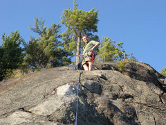 Rock Climbing Photo: Just in case the two big belay anchors aren't obvi...