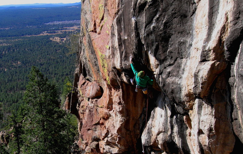 Rock Climbing Photo: Colin Cox staring down the crux of Solitaire, at H...