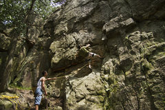 Rock Climbing Photo: starting on Pocket Warmup, love this route.  A bit...