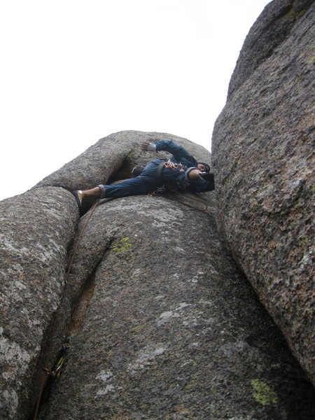 Rock Climbing Photo: Stemming in to the final moves of Stem Christie.  ...