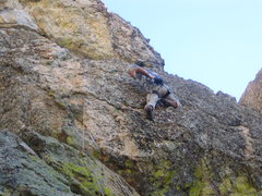 Rock Climbing Photo: Jimbo launching into a 5.10 ground up, FA runout o...