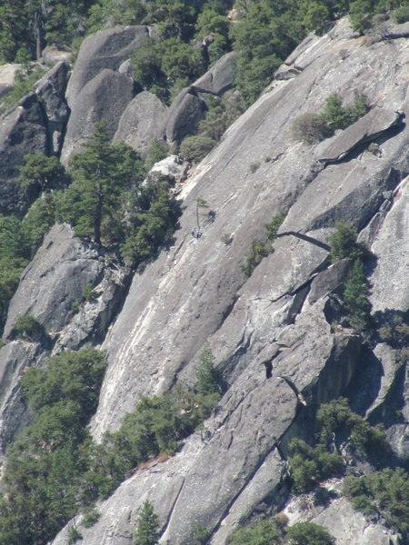 Extreme telephoto of 2  unknown climbers at rappel tree, from 3 miles.