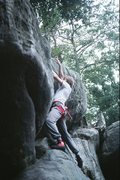 Rock Climbing Photo: Dave tackling the tricky final sequence on Banana