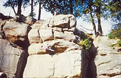 Rock Climbing Photo: An old picture of a climber on the top overhang on...