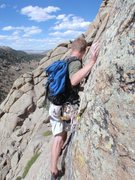 Rock Climbing Photo: Pat stepping across.