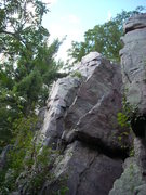 Rock Climbing Photo: The Clamshell goes up past the small tree, into a ...