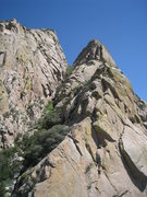 Rock Climbing Photo: Looking up at the West Ridge from the second saddl...