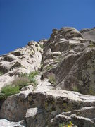 Rock Climbing Photo: Looking up at P1 of the West Ridge.  The leftmost ...